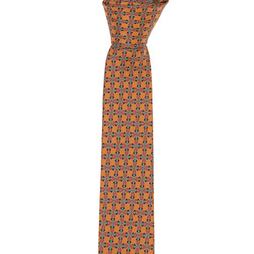 Marmo Di Carrara 100% Silk Boys Necktie - Chain Link Print in Pumpkin (Silk Chain Necktie)