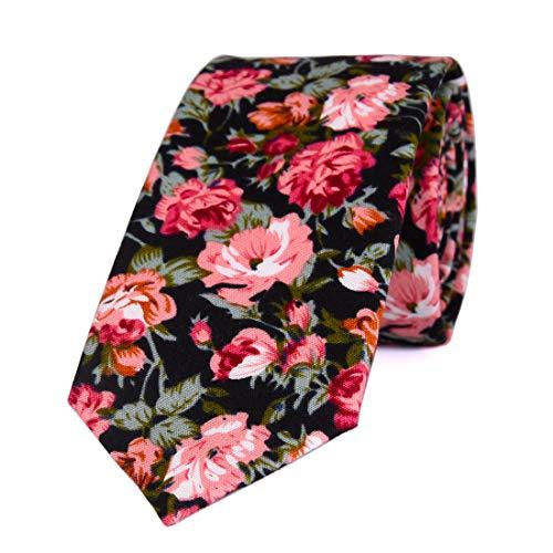 LUISDAN Men's Skinny Floral Tie Cotton Flower Printed 2.56'' Wedding Dating Summer Necktie