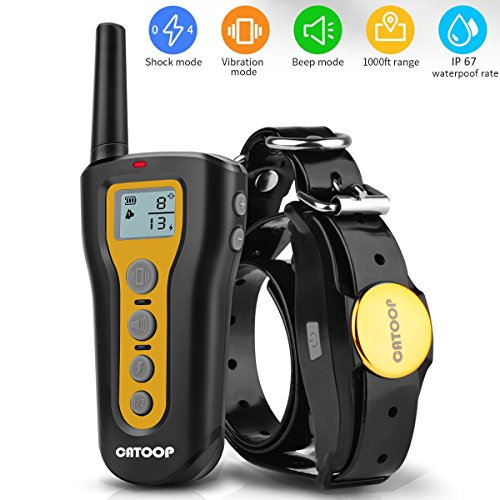 Dog Training Collar, Rechargeable & Waterproof,Blind Operation with Anti-stuck Button Remote 1000ft Remote Range Training,Dog Shock Collar with Beep, Vibration and Shock Mode for All Dogs. (Button Operation)