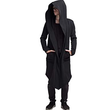 17724085c9 2018 Men s Long Trench Coat Winter Long Hoodie Cardigan Cape Coat Loose  Jacket Overcoat (Black