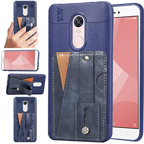Redmi Note 4X Case, Bunnyfan Business Style Soft TPU Leather Case Veneer Gluing ID Card Slot Stand Cover Wrist Strap Shell for for Xiaomi Redmi Note 4X (Blue)