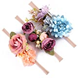 Baby Girls Headband Floral Crown Nylon Hair Band Newborn Toddler Photo Props (Purple Blue Set)