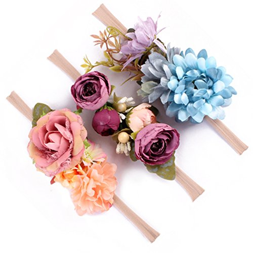 (Baby Girls Headband Floral Crown Nylon Hair Band Newborn Toddler Photo Props (Purple Blue)