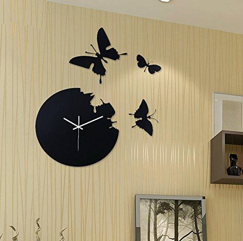 掛け時計 時計 クロック デザイン 石英時計 壁掛け時計 蝶 簡約 可愛い ファッション モダン インテリア 子供部屋 リビング おしゃれ 静音 ブラック A-KUYA B071KK81ZZ