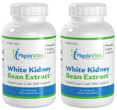 Белый Фасоль дополнительной прочности низким содержанием углеводов Поддержка Phaseolus Vulgaris PhysioVites Белого фасоли 1,500mg 180 Капсулы 2 бутылки