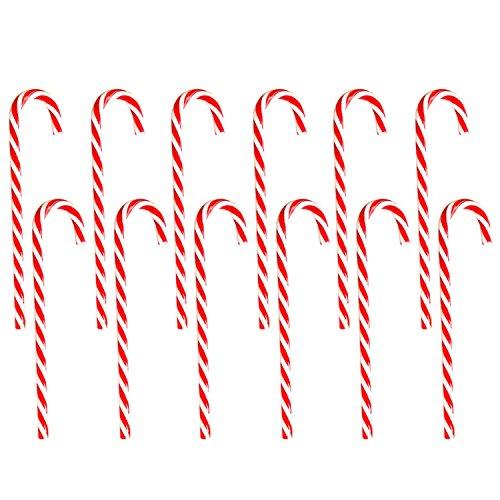 Gosear 12 Piezas Candy Cane Navidad Adornos de Navidad de plástico Dulce bastón Adornos Colgantes Decoraciones