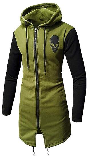 764ebf5a110a Jotebriyo Mens 3D Skull Print Fall Winter Zip Up Hooded Longline Hoodie  Sweatshirts Jacket Coat at Amazon Men s Clothing store