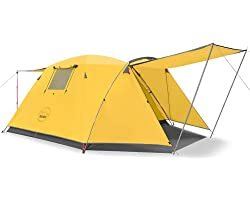 KAZOO 4 Person Camping Tent Outdoor Waterproof Family Large Tents 4 People Easy Setup Tent with Porch Double Layer