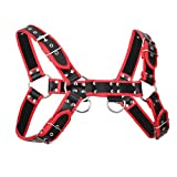 leather bulldog harness - YiZYiF Men's Leather Exotic Bulldog Chest Harness Strap Costume With Red Linning