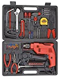 Powerful 13 MM Impact Drill Machine Kit with Reversible Function 500 Watt, 2800 RPM, Red