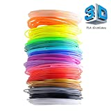 3D Printing Pen Filament Refills, Creland 1.75 mm Filament PLA Pack of 20 Different Colors ABS Filament [Bonus 4 Glow in the Dark] – 320 Linear Feet, 16 Feet Each