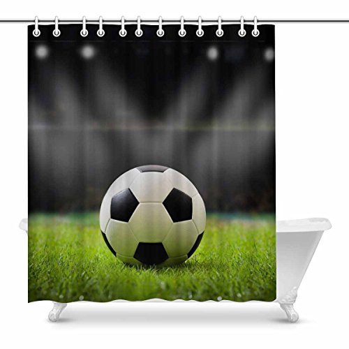 InterestPrint Soccer Ball on Soccer Field Stadium with Night Light Waterproof Shower Curtain Decor, Fabric Bathroom Set with Hooks, 72(Wide) x 84(Height) Inches by InterestPrint
