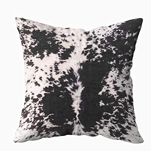 Capsceoll Black White Cow Hide Print Decorative Throw Pillow Case 20X20Inch,Home Decoration Pillowcase Zippered Pillow Covers Cushion Cover with Words for Book Lover Worm Sofa Couch ()