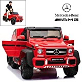 Licensed Mercedes Benz AMG G63 6x6 Electric Ride On Car for Kids with 2.4G Remote Control, 12V 6 Motors, Parent Seat, Openable Doors, Leather Seat, USB MP3 Player, LED Bottom and Wheel Light -Red