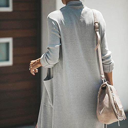 Outwear Casual Pull À Serface Grande Manches Poche Long Gris Blazer Avec Femmes Solide Manteau Longues Cardigan Rfqw5F7w