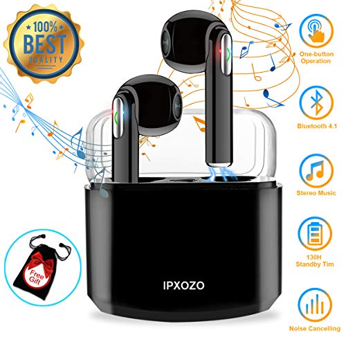 Wireless Earbuds,Bluetooth Earbuds Stereo Wireless Headphones Mini Wireless Earbuds with Microphone with Charging Case in Ear Earphones Sports Earpieces Compatible Samsung Huawei (Black)