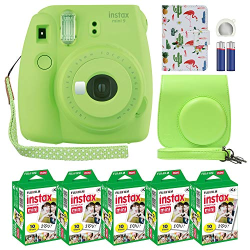 Fujifilm Instax Mini 9 Instant Camera Lime Green with Custom Case + Fuji Instax Film Value Pack (50 Sheets) Flamingo Designer Photo Album for Fuji instax Mini 9 Photos