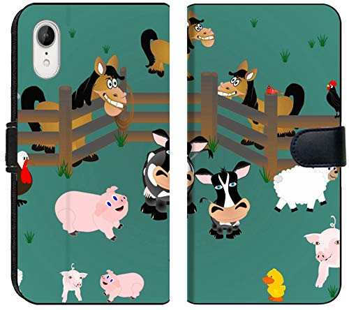 Liili Premium iPhone XR Flip Micro Fabric Wallet Case Image ID: 8643234 Pigs Rooster Sheep Cows Cardinal and Horses Out in Pasture with Fencing