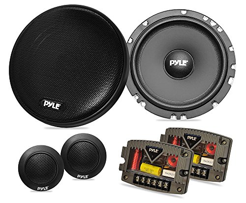 "TWO Pyle PLSL650K 6.5"" Slim Mount 2-Way Stereo Component Speaker System"