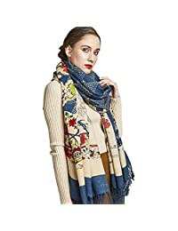 DANA XU 100% Pure Wool Winter Women Scarf National Style Pashmina … (Deep Blue)