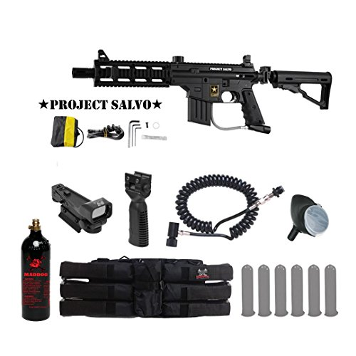 Tippmann U.S. Army Project Salvo Tactical Red Dot Paintball Gun Package - Black (Project Salvo Paintball Guns)