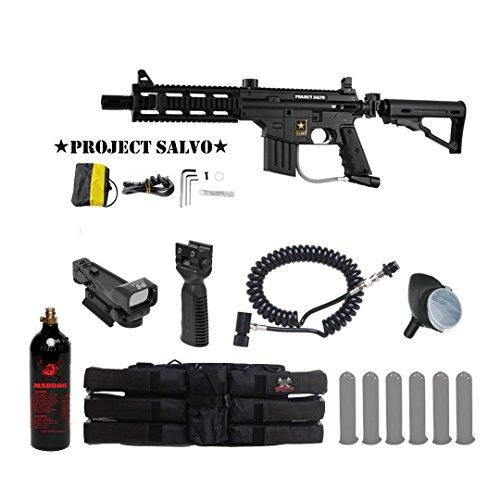 Tippmann U.S. Army Project Salvo Tactical Red Dot Paintball Gun Package - Black (Project Salvo Paintball Guns)