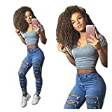 WEUIE Women Pants Clearance Sale! Women Denim Skinny Ripped Pants High Waist Stretch Jeans Slim Pencil Trousers (S,Blue )