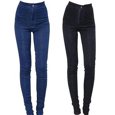 HCMONSTER VaquerosPantalones Vaqueros de Moda para Mujer Pantalones de lápiz Pantalones de Cintura Alta Pantalones Pitillo elásticos Delgados Pantalones Aptos Lady Jeans Talla Grande, L, Azul: Ropa y accesorios