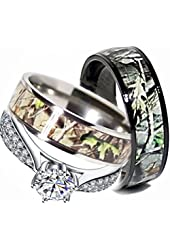 Mens & Womens Camo Engagement Wedding Rings Set Silver & Titanium