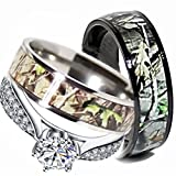 Mens & Womens Camo Engagement Wedding Rings Set Silver & Titanium (Size Men 10; Women 7)