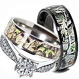 Mens & Womens Camo Engagement Wedding Rings Set Silver & Titanium (Size Men 10; Women 7)