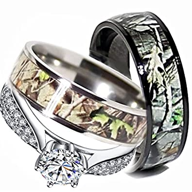 Mens & Womens Camo Engagement Wedding Rings Set Silver & Titanium (Size Men  10;