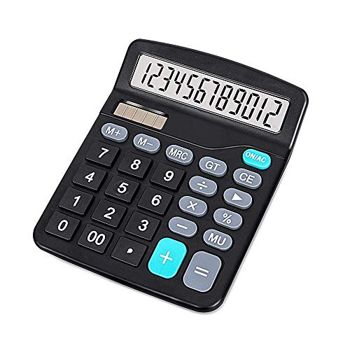 Ubidda Standard Function Electronics M-25 Calculator-12 Digit Large LCD Display, Handheld for Daily and Basic Office, Black