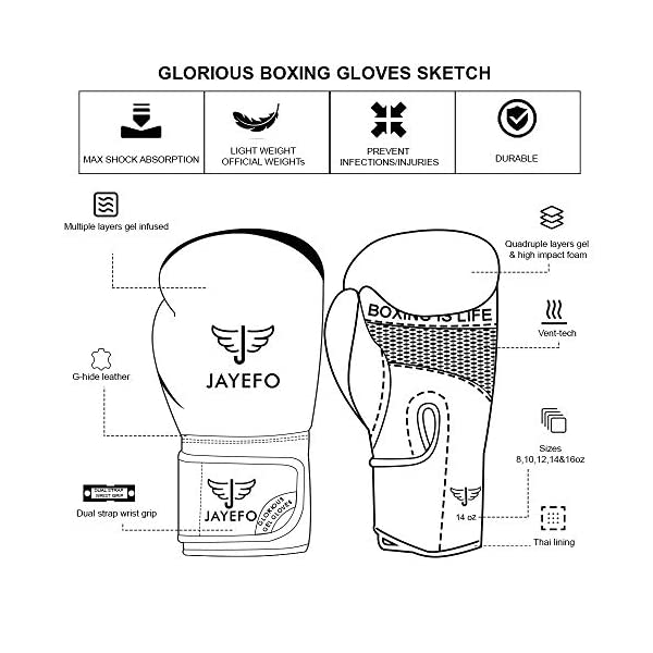 Jayefo Glorious Boxing Gloves Muay Thai Kick Boxing Leather Sparring Heavy Bag Workout Pro Leather Gloves Mitts Work for Men & Women 5