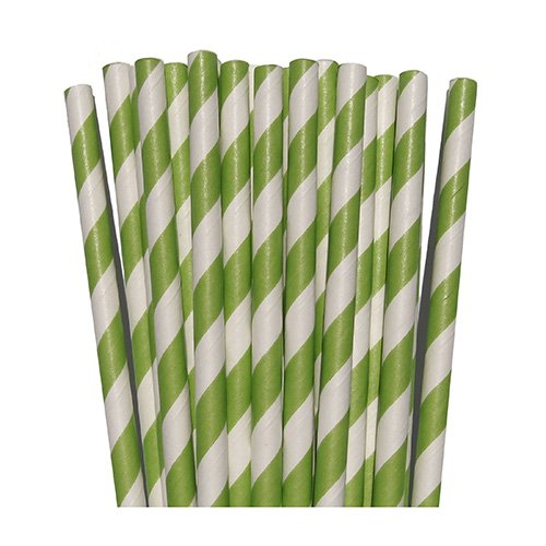 Lime Green Striped Paper Straws- For Weddings Birthday Parties Baby Showers Bridal DIY Vintage Themes (50 Count)
