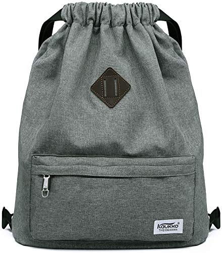 Drawstring Sports Backpack Lightweight Gym Yoga Sackpack Shoulder Rucksack for Men and Women-Dark Grey