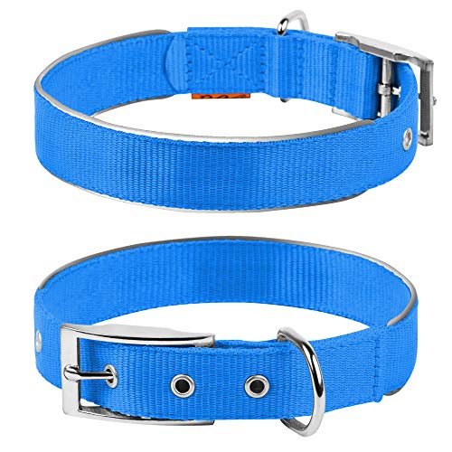 COLLAR Nylon Reflective Dog Adjustable Dog with Metal Buckle - Heavy Duty Small Medium Large Dogs Puppy - Red Blue Black Safety Plus (S 12
