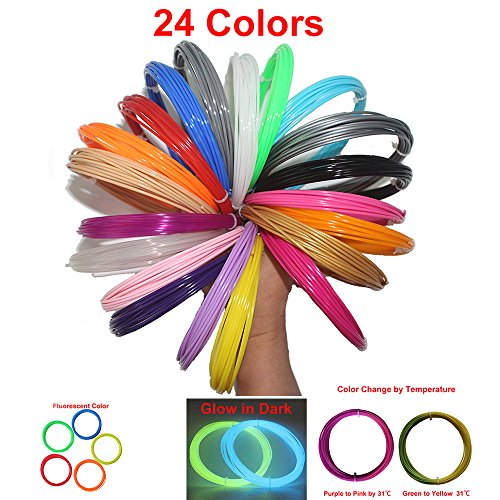 CCTREE 3D Pen Filament ABS 1.75mm Refill Filament ,20 Feet Per Color With 24 Colors Including Glow in the Dark & Color Changing & Fluorescence Color