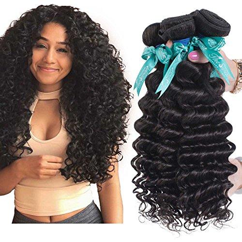 Swan Virgin Human Hair Deep Curly 3 Bundles Natural Color 7A Grade (22