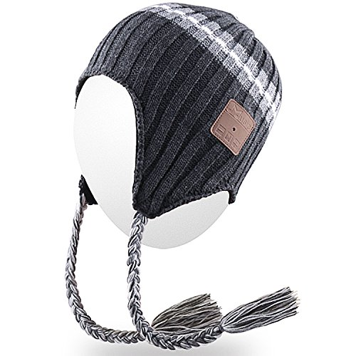Braid Beanie (Qshell Trendy Wireless Bluetooth Beanie Hat Braid Headphones Headsets Speaker Microphone for Womens Mens Lifestyle Outdoor Sports Skiing Snowboard Hiking Walking Running Jogging,Christmas Gifts - Gray)