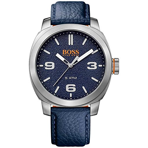 HUGO BOSS Men's 'CAPE TOWN' Quartz Stainless Steel and Leather Casual Watch, Color:Blue (Model: 1513410)