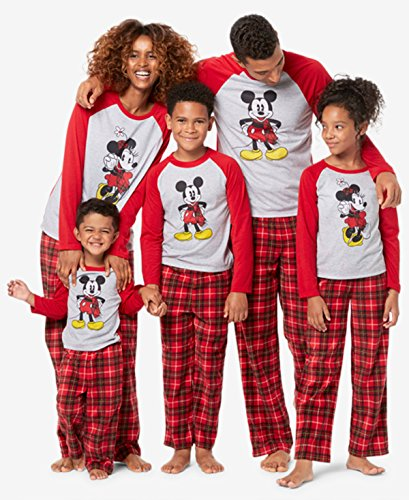 Mickey and Minnie Mouse Christmas Holiday Family Sleepwear Pajamas (Large, Mom Minnie) ()