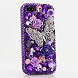 iPhone 6S Bling Case, iPhone 6 Case - LUXADDICTION [Premium Quality] 3D Handmade Crystallized Bling Case Swarovski Crystals Diamond Sparkle Silver Butterfly Purple Background Cover for iPhone 6 / 6S