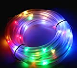 ( Pack of 2 ) JulyFire Multi-color LED Solar Outdoor Rope Lights, Waterproof, 50 LEDs, with Light Sensor (Multi-color)