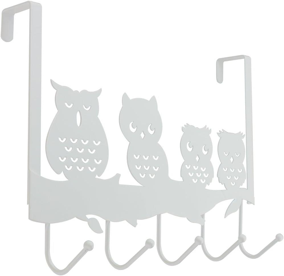 com-four® Colgador de Puerta búho con 5 Ganchos de Metal - Perchero para Puertas - Colgadores de Puerta para Ropa (01 Pieza - búho)