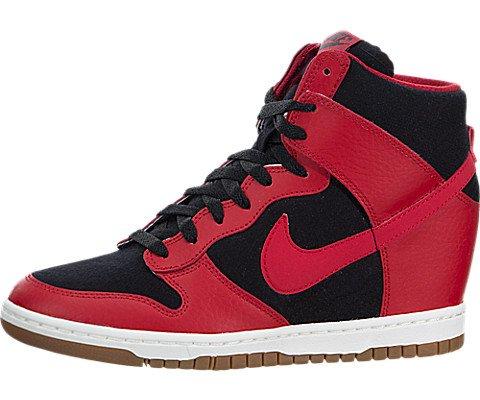 Nike Womens Dunk Sky Hi Essential Black/University Red/Sail/Black Casual Shoe 6.5 Women US
