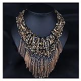 Hamer Women's Brown Bib Handmade Weave Choker Statement Necklace Pendant Jewelry Bohemia Vintage