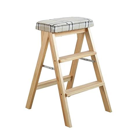 Escalera Taburete escalera de madera maciza plegable ...