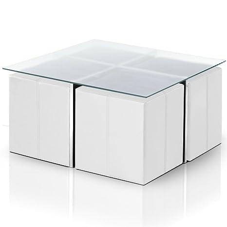 Table Basse Cali Verre Blanc Givré Et Ses 4 Poufs