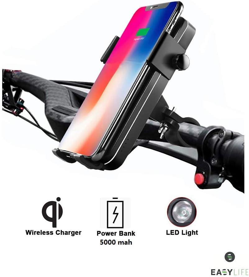 Easy-Life Soporte telefono Cargadores sin Cable per induccion con bateria Externa para Bicicleta ATV Porta movil para Bici con Power Bank de induccion y Cable. Scooter Patinete Moto